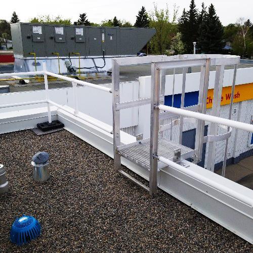 Échelle à crinoline avec porte de sécurité et palier de toit | Boutique ABM | Livrer. Toujours.